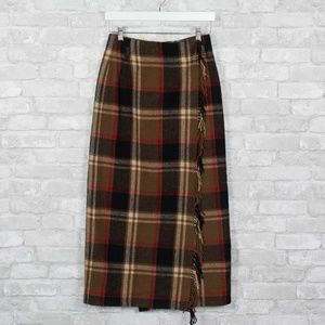 Vintage Eddie Bauer Plaid Wool Maxi Skirt Wrap 90s